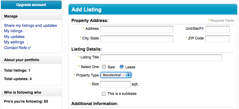 Apartment listings on Linkedin
